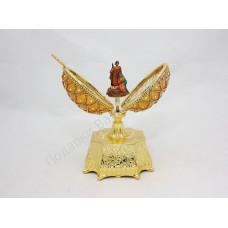 Яйцо шкатулка скорлупа «Пасха» шишка золотая