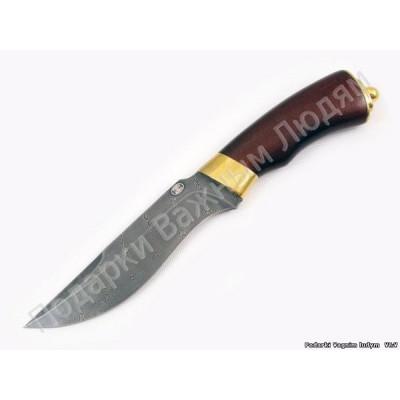 Нож Н2-Турция из дамаска. Рукоять береза, латунь в золоте