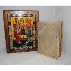 Библия в футляре с рукописной Иконой