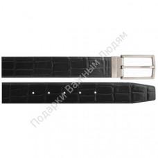 Ремень 35 мм, нат.кожа с тиснением кроко черный, пряжка никель